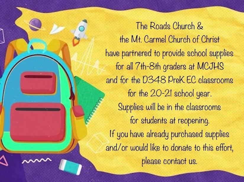 Roads Church/Mt. Carmel Church of Christ Donation